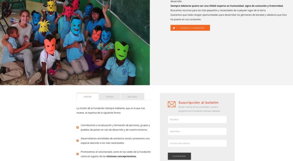 Sección de la nueva página web de la Fundación Siempre Adelante, diseñada por ATC Comunicación
